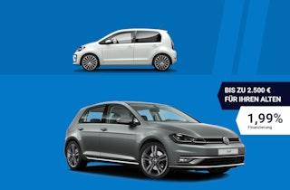 Für VW Gebrauchtwagen + bis zu 2.500,– € Prämie** für Ihren Alten!